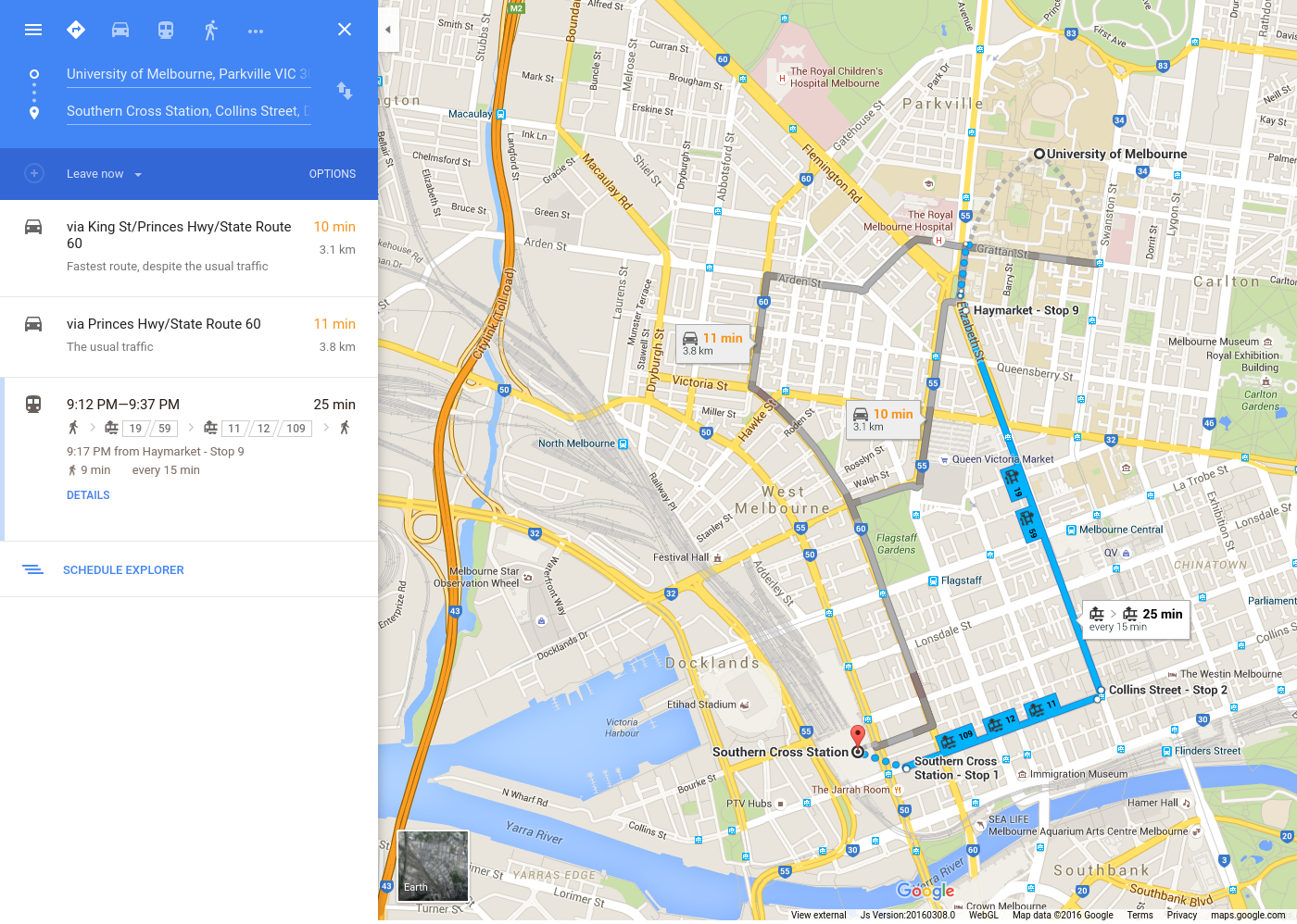 public transport on google map